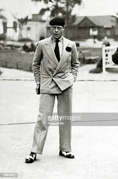 August 1931, HRH,Edward, Prince of Wales pictured wearing a French beret while at Le Bourget Airport, Paris, The Prince of Wales was to become King...