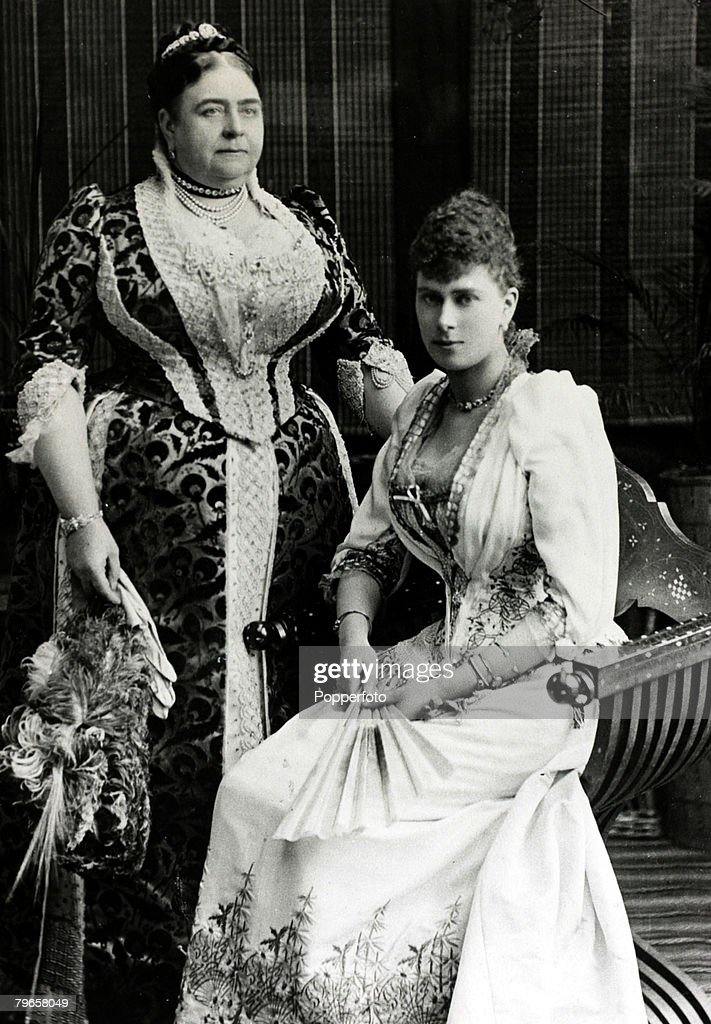 British Royalty, pic: circa 1891, Princess Mary of Teck, (1867-1953) who was to become Queen Mary the Queen Consort of King George V, pictured with her mother the Duchess of Teck : News Photo