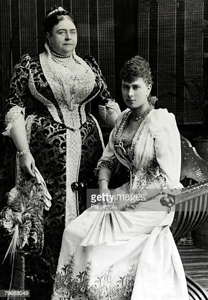 circa 1891 Princess Mary of Teck who was to become Queen Mary the Queen Consort of King George V pictured with her mother the Duchess of Teck