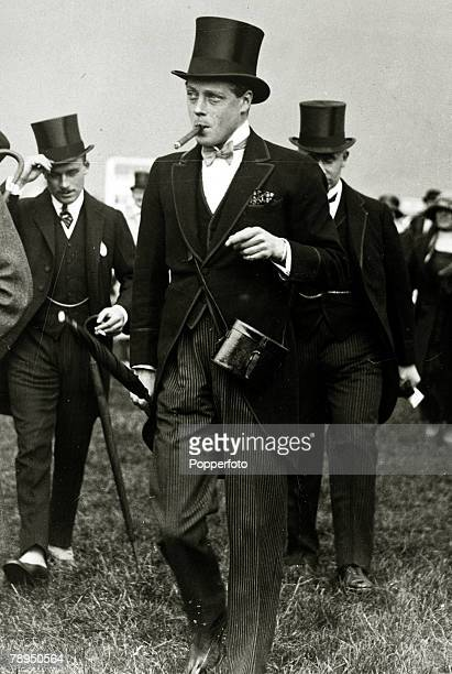circa 1920's HRHEdward Prince of Wales pictured smoking a large cigar while having a day at the races The Prince of Wales was to become King Edward...