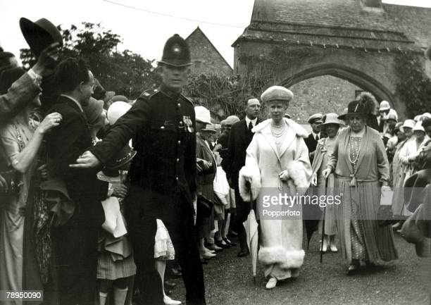 circa 1923 HMQueen Mary pictured visiting Carisbrook Castle Isle of Wight escorted by Princess Beatrice Governor of the island Queen Mary born Mary...