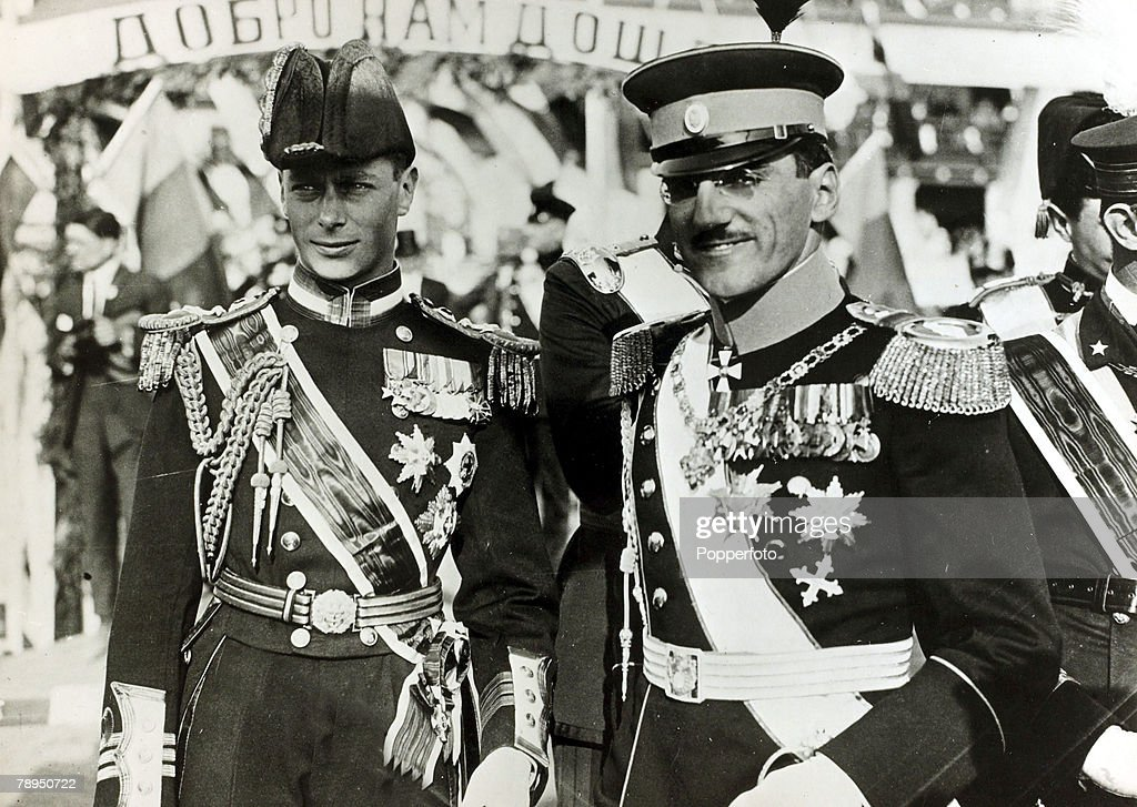 British Royalty. pic: circa 1923. HRH. The Duke of York pictured with King Alexander of Serbia. The Duke of York was to become King George VI, on the abdication of King Edward VIII, and reigned 1936-1952, with Elizabeth as his Queen Consort. : News Photo