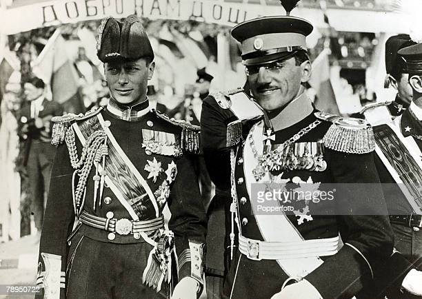 circa 1923 HRH The Duke of York pictured with King Alexander of Serbia The Duke of York was to become King George VI on the abdication of King Edward...