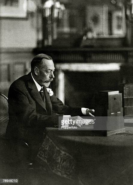 circa 1930 HMKing George V at the microphone as he makes a radio broadcast King George V reigned 19101936