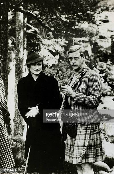 circa 1936 HRH Prince of Wales and Wallis Simpson pictured at Balmoral