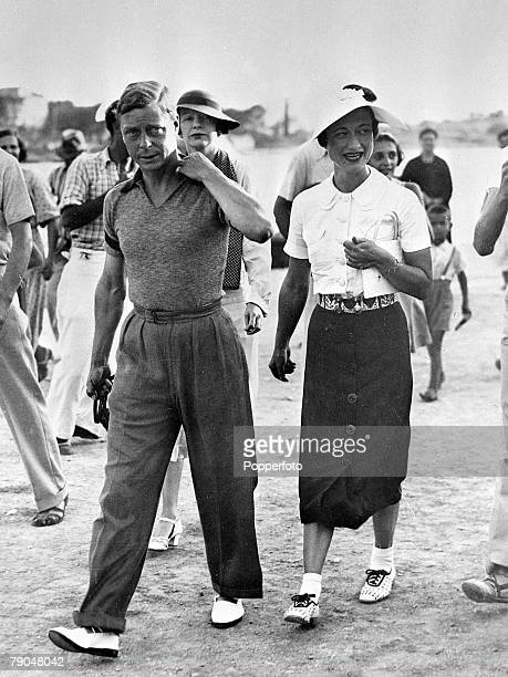 circa 1936 The Prince of Wales is pictured on holiday with Mrs Wallis Simpson A constitutional crisis ensued when after succeeding his father George...