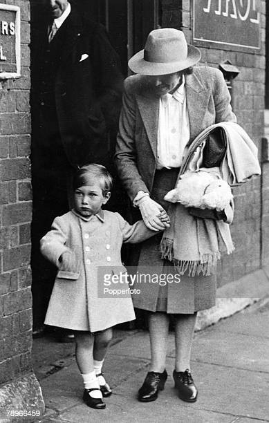 circa 1943 Blisworth Northamptonshire England Prince William of Gloucester with his nanny about to leave Blisworth Railway Station