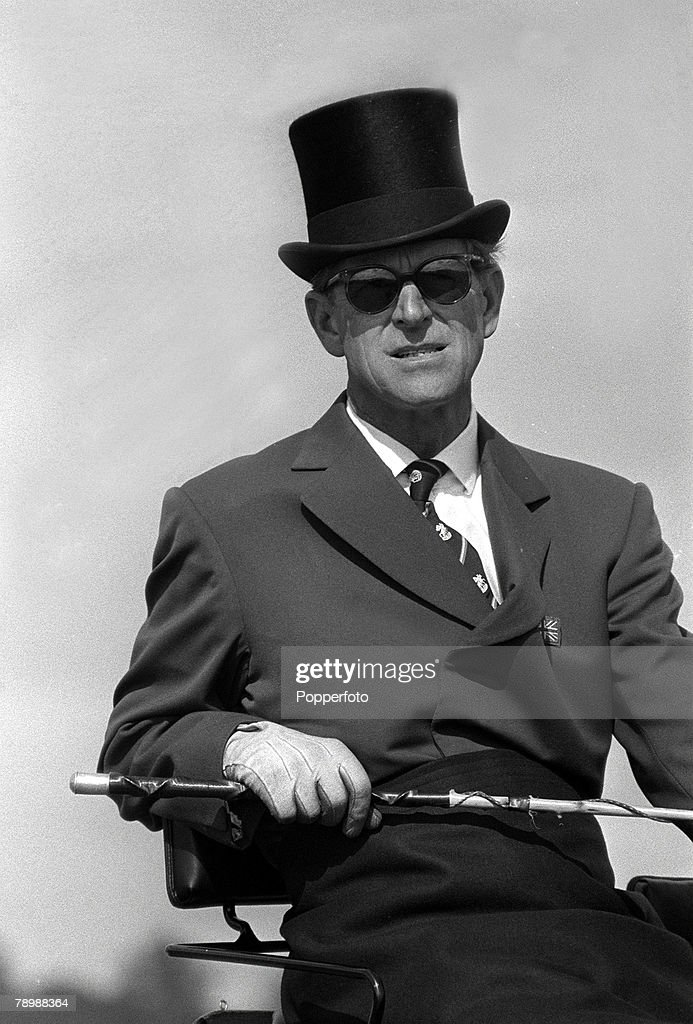 British Royalty. pic: circa 1978. H.H.H.The Duke of Edinburgh at the reins practicising his sport of carriage driving. : News Photo