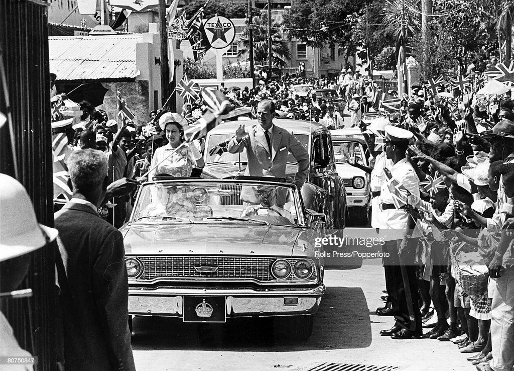 February 1966 West Indies HM Queen Elizabeth With The Duke Of Edinburgh Receive