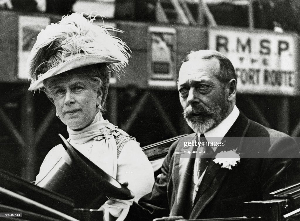 British Royalty. pic: July 1925. HM. King George V with the his Consort, Queen Mary after opening the new Canada Building in London's Trafalgar Square. King George V, (1865-1936) reigned from 1910-1936. : News Photo