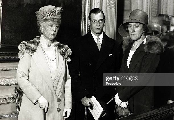 July 1929 HMQueen Mary left with Prince George and Princess Marie Louise at a London silver exhibition