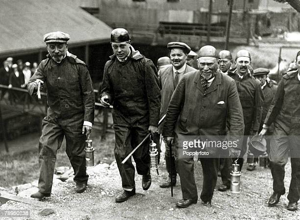 June 1919 HRHEdward Prince of Wales pictured leaving a coal mine in South Wales after being shown underground The Prince of Wales was to become King...