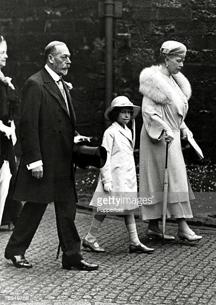 June 1934 HM King George V with Queen Mary and with the young Princess Elizabeth on the way to Westminster Abbey to attend a pilgramage to Cathedrals...