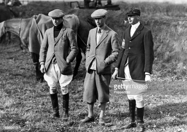 March 1924 HRHEdward Prince of Wales left pictured with Prince Albert Duke of York and Prince Henry at a point to point meeting near Wokingham...