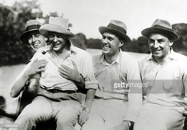 November 1921 HRHEdward Prince of Wales 2nd left pictured in on his Canadian tour in high spirits as Lord Louis Mountbatten and two officers of...