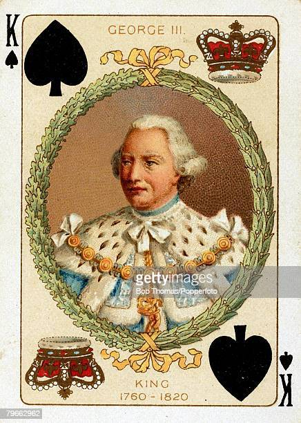 British Royalty Playing Cards produced circa 1897 Illustration shows George III who reigned England from