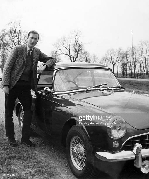 British Royalty Prince William of Gloucester pictured at the time he was in his 2nd year at Cambridge University stands alongside his Sunbeam Alpine...