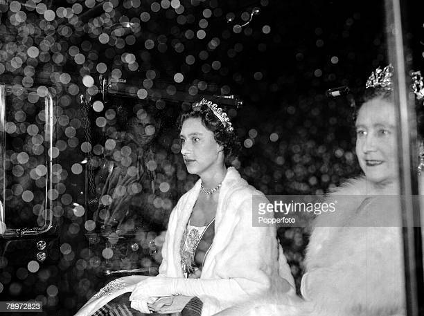 British Royalty Princess Margaret left and Queen Elizabeth the Queen Mother London 1955