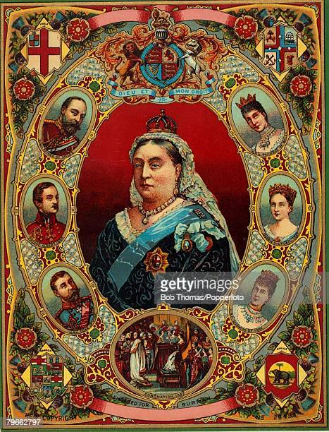 British Royalty Queen Victoria who reigned from 1837 to 1901 A souvenir card to mark Queen Victoria's Golden Jubilee