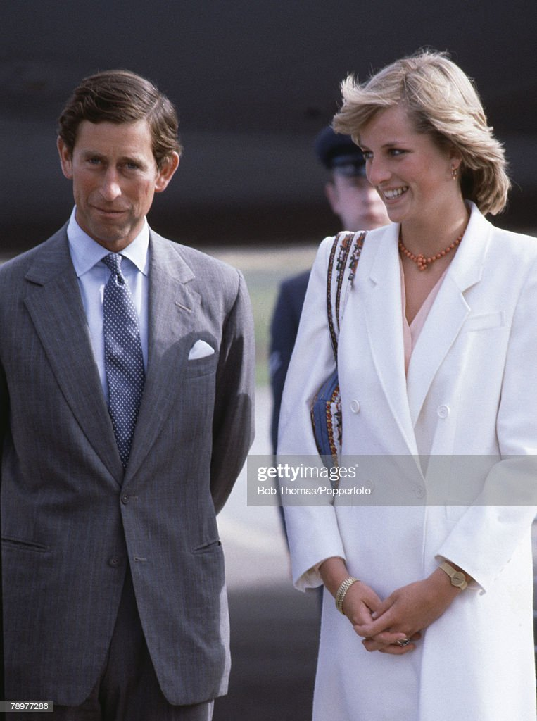 British Royalty. RAF Lossiemouth, Scotland. August 1981. Prince Charles and Princess Diana return to the RAF station after their honeymoon. : News Photo