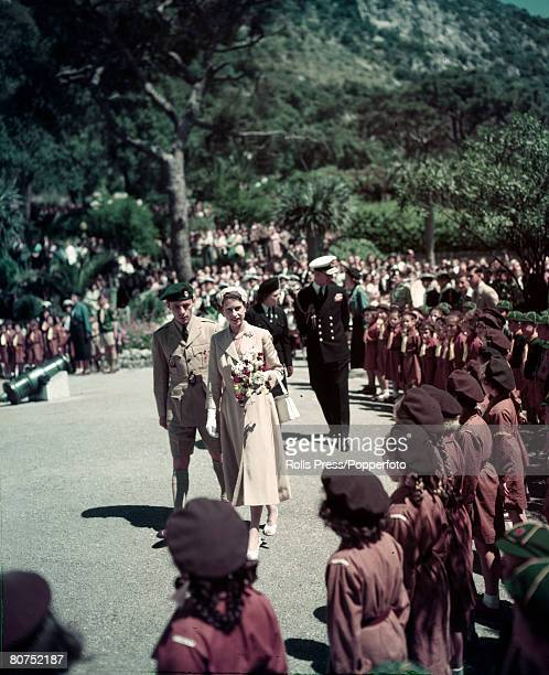 British Royalty Royal Tour of South Africa pic 1947 Princess Elizabeth inspecting a Girl Guide guard of honour during the Royal Tour