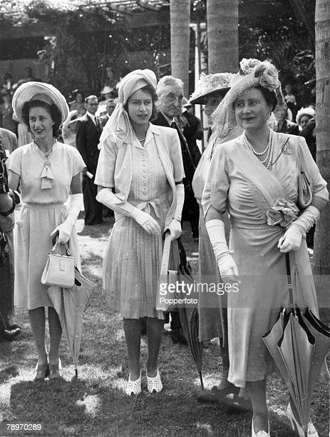 British Royalty Royal Tour of South Africa pic March 1947 Garden Party at Mitchell Park DurbanLeftright Princess Margaret Princess Elizabeth and...