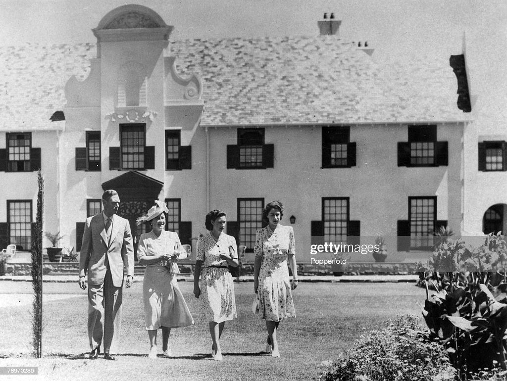 British Royalty. Royal Tour of South Africa. pic: March 1947. The Royal Family pictured at the Governor-General's house at Bloemfontein, showing left-right King George VI, Queen Elizabeth, Princess Margaret and Princess Elizabeth. : News Photo