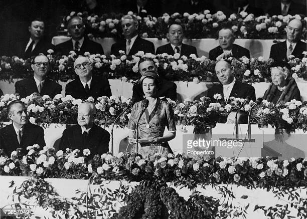 British Royalty Royal Tour of the United States pic 22nd October 1957 New York USA HM Queen Elizabeth pictured responding to Mayor Robert Wagner's...