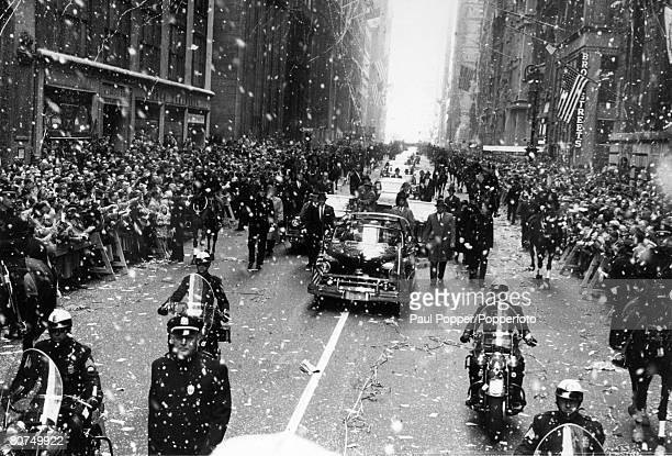 British Royalty Royal Tour of the United States pic 22nd October 1957 New York USA HM Queen Elizabeth enjoys a typical New York welcome with ticker...