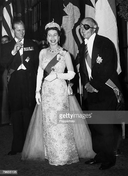 British Royalty Royal Tour of the United States pic October 1957 New York USA HM Queen Elizabeth pictured with the Duke of Edinburgh and Lewis...
