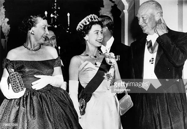 British Royalty, Royal Tour of the United States, pic: October 1957, Washington, USA, HM, Queen Elizabeth with Mamie and President Dwight Eisenhower...
