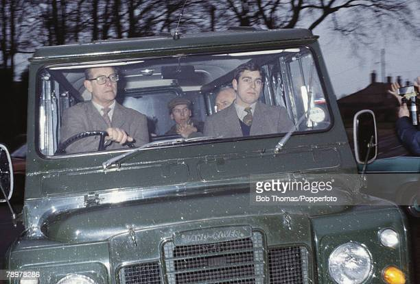 British Royalty, Sandringham, England, Circa 1980, Prince Philip and Prince Andrew driving in their Land Rover to a shoot