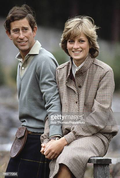British Royalty Scotland 19th August 1981 Prince Charles and Princess Diana pose by the River Dee while on their honeymoon