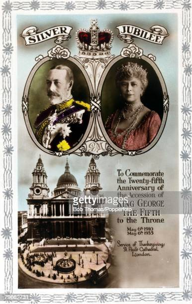 British Royalty Silver Jubilee Souvenir card 19101935 A card produced to record King George V of Great Britain and Queen Mary celebrating their...
