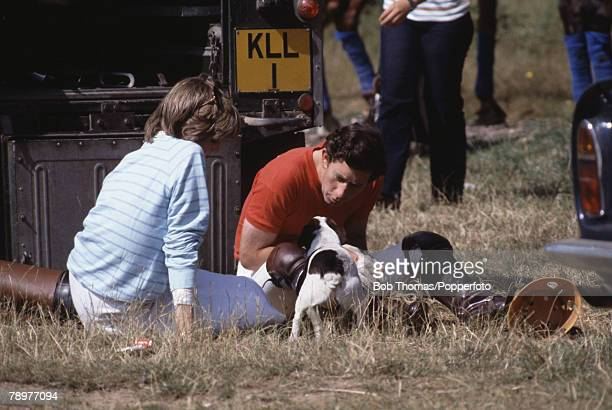 British Royalty Smiths Lawn Windsor England July 1981 Prince Charles plays with a small dog while Princess Diana looks on