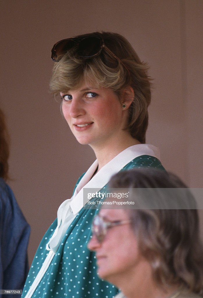 British Royalty. Smiths Lawn, Windsor, England. June 6th, 1982. Princess Diana watching the Polo while pregnant with Prince William. : News Photo