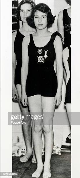 July 1939 London A rare photograph of the Queen then Princess Elizabeth aged 13 who swimming the breaststroke had won the Challenge Shield in the...