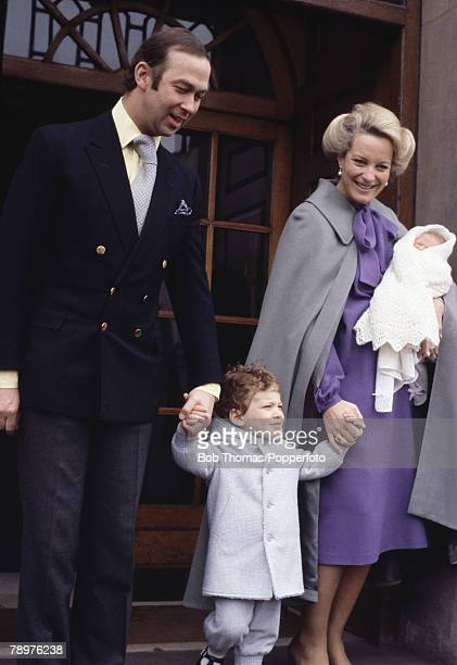 British Royalty St Mary's Hospital London England April 1981 Prince and Princess Michael of Kent leave hospital with their new baby Lady Gabriella...