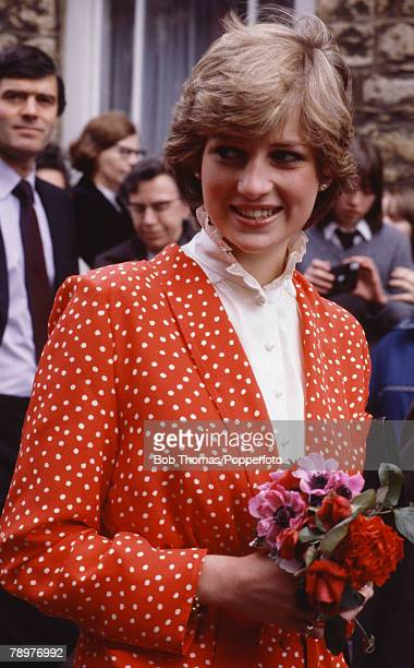 British Royalty Tetbury Gloucestshire England 22nd May 1981 Lady Diana Spencer during her first 'walkabout' with fiance Prince Charles