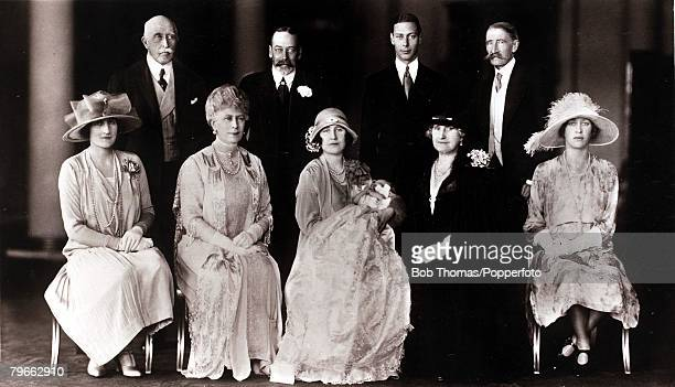 British Royalty The christening of Princess Elizabeth Alexandra Mary Group back row LR Duke of Connaught HMKing George V of Great Britain Duke of...