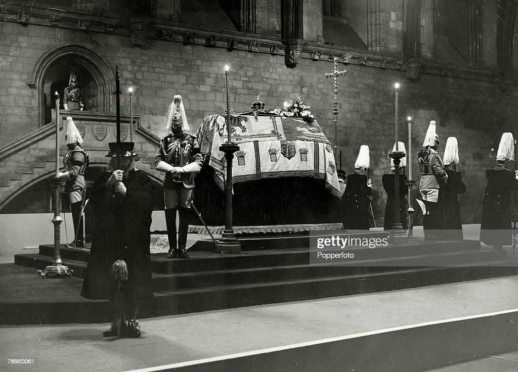 British Royalty. The Funeral of King George V. pic: January 1936. The Lying in State of King George V in Westminster Hall, London. : News Photo