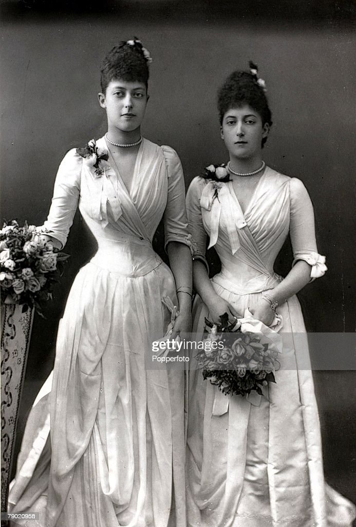 British Royalty. The Princesses Victoria and Maude, portrait, pic: circa 1890. The sisters are the daughters of the Prince and Princess of Wales. : News Photo
