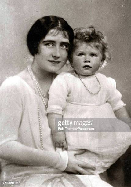 British Royalty The Queen mother pictured when she was HRH the Duchess of York with her daughter Princess Elizabeth June 1927
