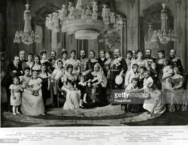 British Royalty The Royal Family 1897 HMQueen Victoria seated centre alongside the Prince of Wales right Edward Albert of York and Alexandra Princess...