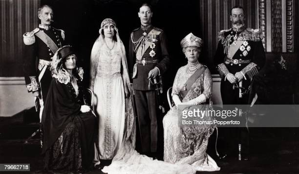 British Royalty The wedding of H,R,H,The Duke of York and Lady Elizabeth Bowes-Lyon, Group are, Earl and Countess of Strathmore, Duke and Duchess of...