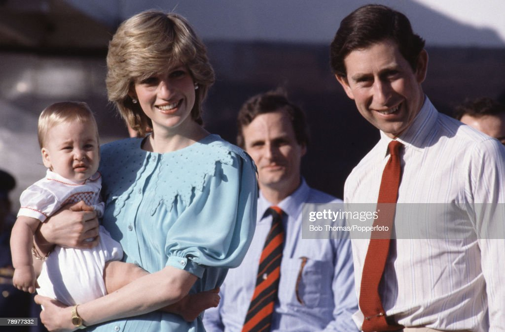 British Royalty. Tour of Australia. 20th March 1983. Alice Springs Airport. Prince Charles and Princess Diana arrive for their tour holding baby Prince William. : News Photo
