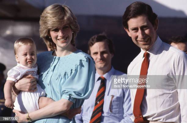 British Royalty Tour of Australia 20th March 1983 Alice Springs Airport Prince Charles and Princess Diana arrive for their tour holding baby Prince...
