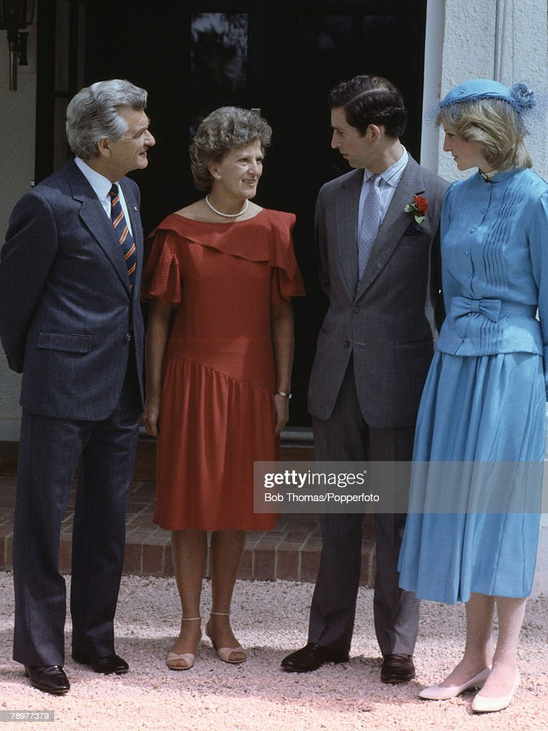 British Royalty. Tour to Australia. Canberra. 24th March 1983. Australian Prime Minister Bob Hawke and his wife Hazel infront of Government House talking to Prince Charles and Princess Diana. : News Photo