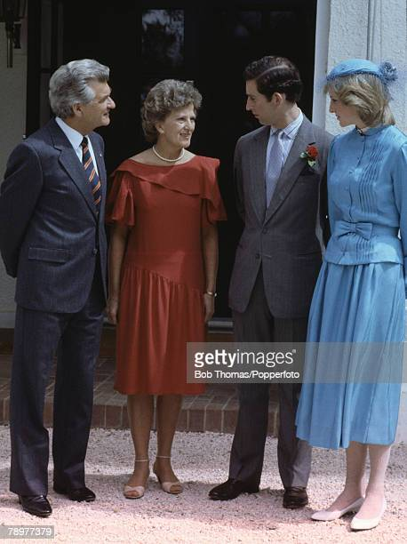 British Royalty Tour to Australia Canberra 24th March 1983 Australian Prime Minister Bob Hawke and his wife Hazel infront of Government House talking...