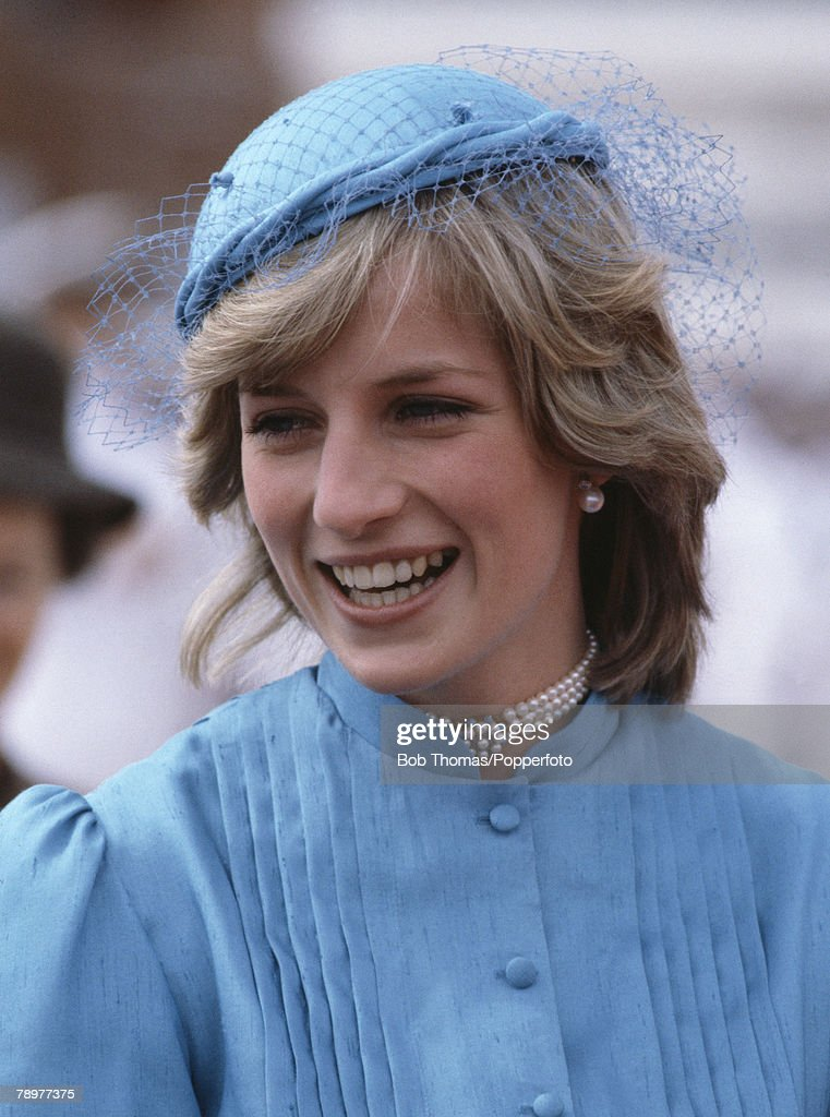 British Royalty. Tour to Australia. Canberra. 24th March 1983. Princess Diana, wearing a light blue hat and dress smiles as she tours the city. : News Photo